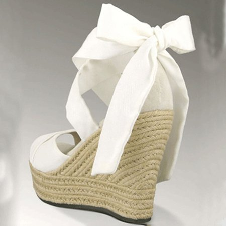 White Bowknot Summer Cloth Wedge Heels