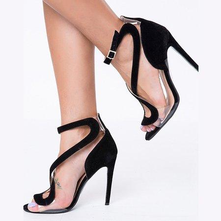 Black Stiletto Heel Suede Summer Heels