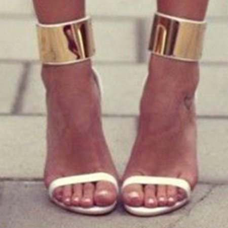 White Casual Spring/Fall Buckle Heels