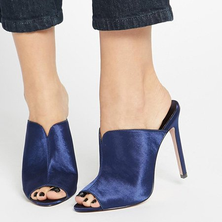 Dark Blue Stiletto Heel Satin Summer Heels
