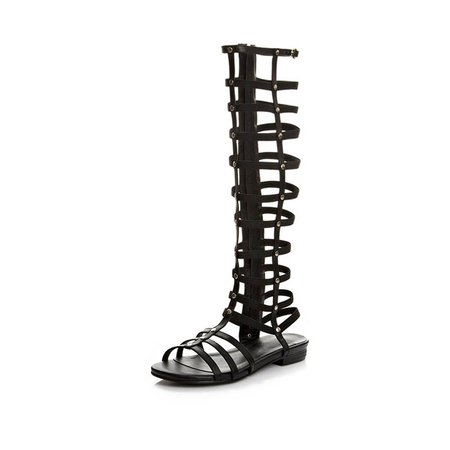 Black Leather Hollow-out Low Heel Gladiator