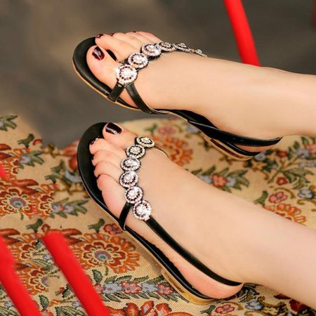 White PU Summer Beading Sandals