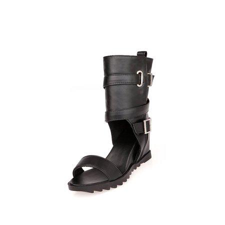 Black Summer Bukle Zipper Sandals