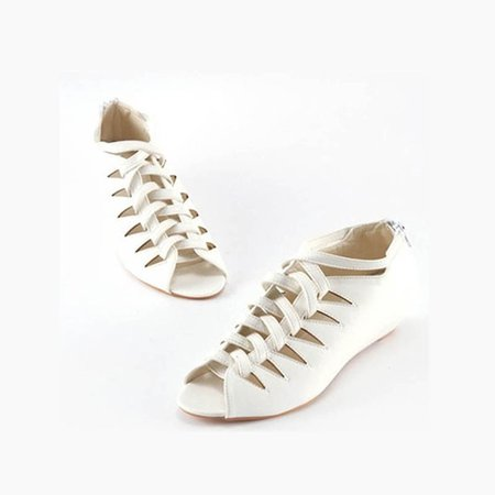 White PU Low Heel Outdoor Lace-up Sandals