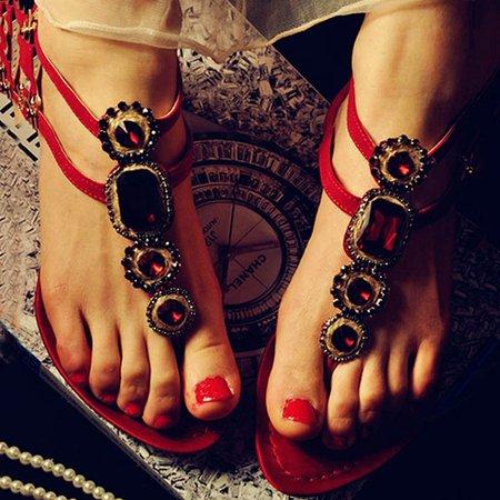 Red Flat Heel Beading Spring/Fall PU Flats