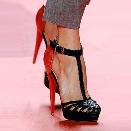 Black Buckle High Heel Summer Heels
