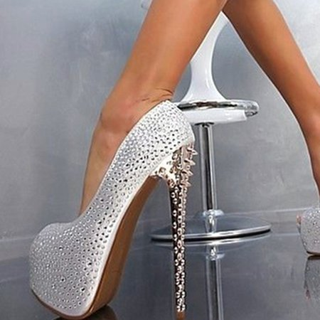 White Spring/Fall Rhinestone Stiletto Heel Heels