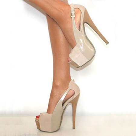 Apricot PU Casual Hollow-out Platform Spring/Fall Heels
