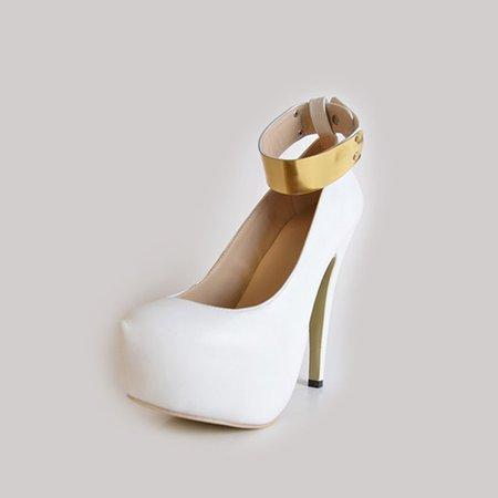 White Summer Platform PU Heels