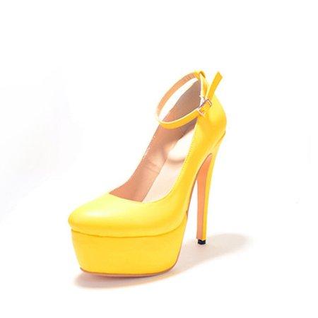 Yellow Buckle Spring/Fall Heels