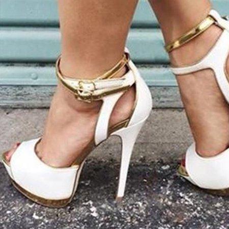 White Platform Buckle PU Sandals