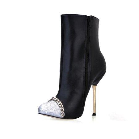 Black PU Stiletto Heel Casual Color Block Winter Boots