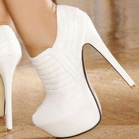 White PU Zipper Stiletto Heel Boots