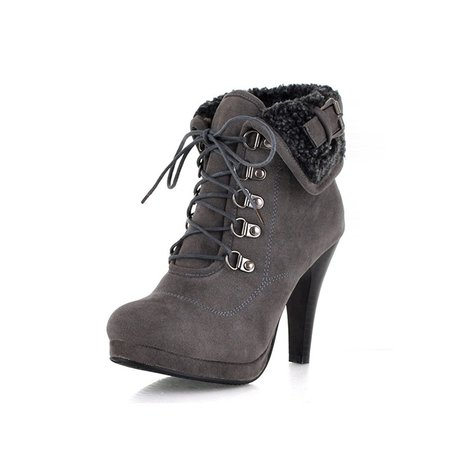 Suede Lace-up Winter Casual Boots