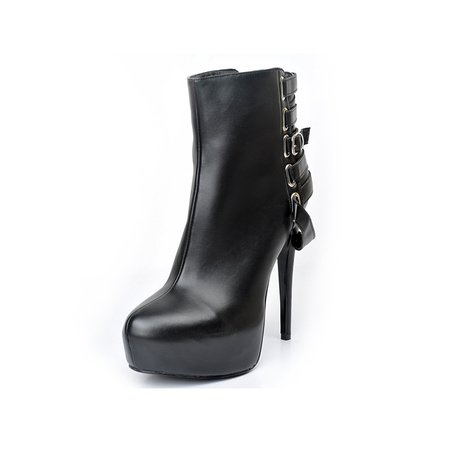 Black Buckle PU Spring/Fall Platform Boots