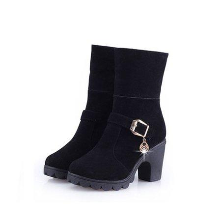 Black Winter Chunky Heel Buckle PU Boots