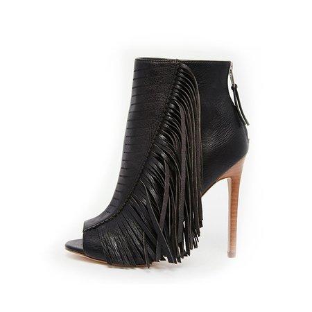 Black Casual Spring/Fall Zipper Boots