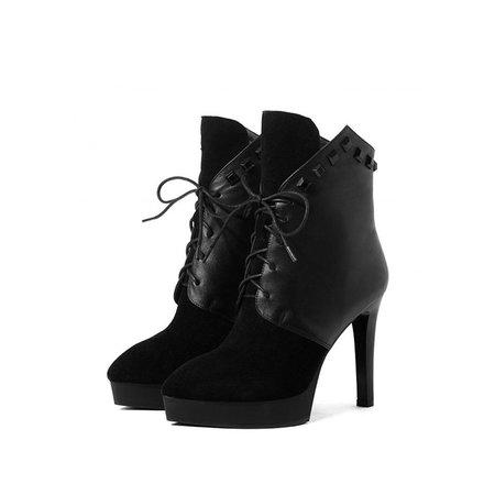 Black Platform Winter Leather Lace-up Boots