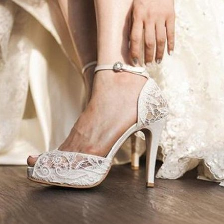 White High Heel Lace Wedding Summer Buckle Heels