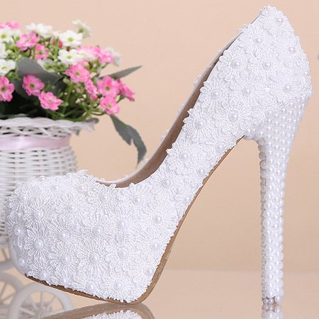 White High Heel All Season Wedding Leather Heels