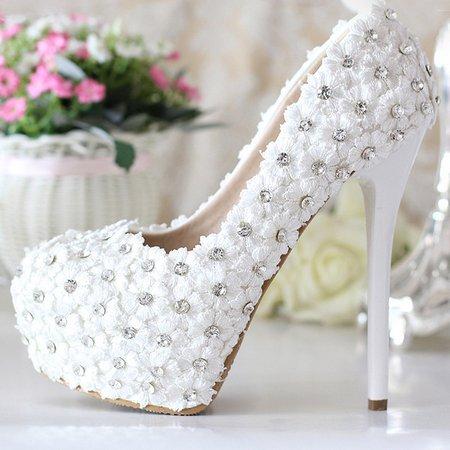 White All Season Wedding Platform Heels