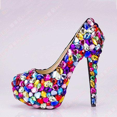 Purple All Season Wedding PU Platform Heels