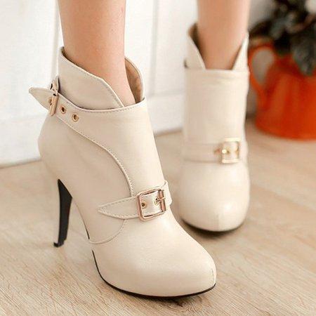 Platform PU Winter Buckle Stiletto Heel Boots