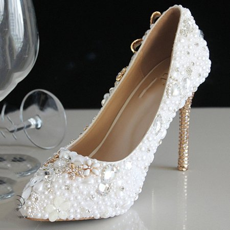 White Stiletto Heel Wedding Spring/Fall Beading Heels