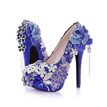 Blue Wedding Leather Stiletto Heel Spring/Fall Heels