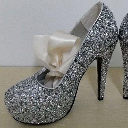 Silver Spring/Fall Sparkling Glitter High Heel Heels
