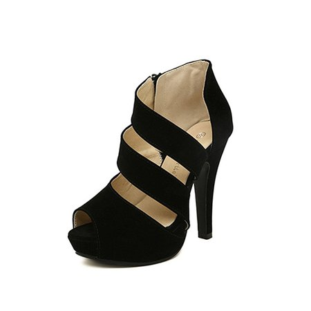 Black Chunky Heel Spring/Fall Suede Hollow-out Sandals