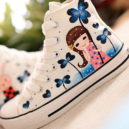 White Casual Lace-up Flat Heel Canvas Shoes