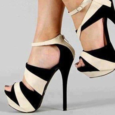 Spring/Fall Color Block Suede High Heel Sandals