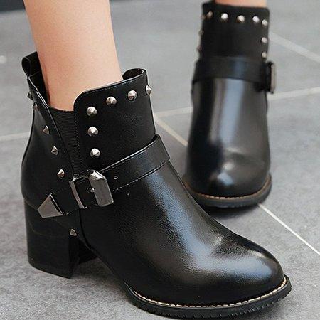 Spring/Fall Rivet Chunky Heel Casual PU Boots