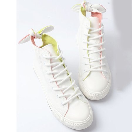 White Flat Heel Casual Lace-up Summer Canvas Shoes