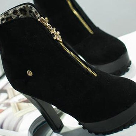 Chunky Heel Spring/Fall Suede Boots