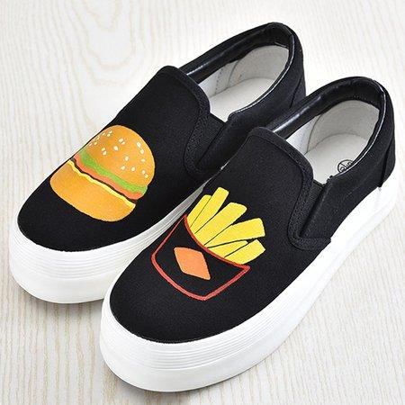 Black Canvas Platform Canvas Shoes