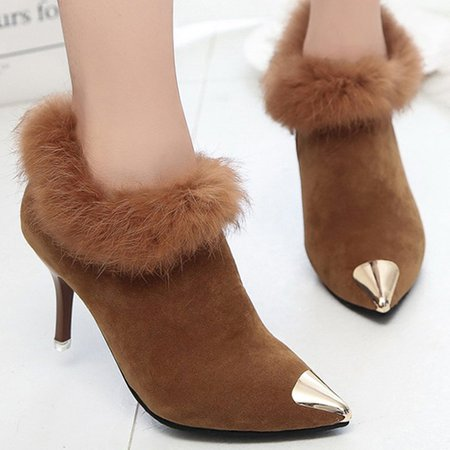 Fluffy Stiletto Heel Heels