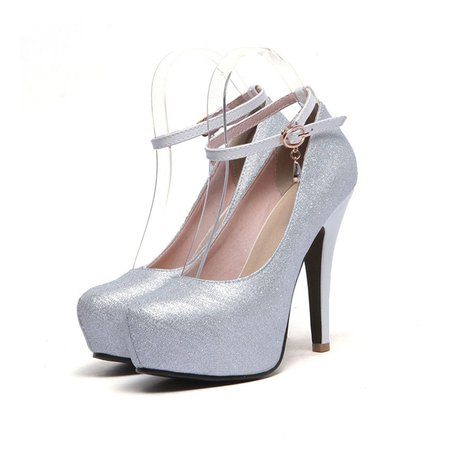 Glitter Spring/Fall Stiletto Heel Buckle Heels