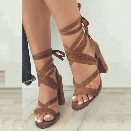 Khaki Chunky Heel Suede Lace-up Summer Dress Sandals