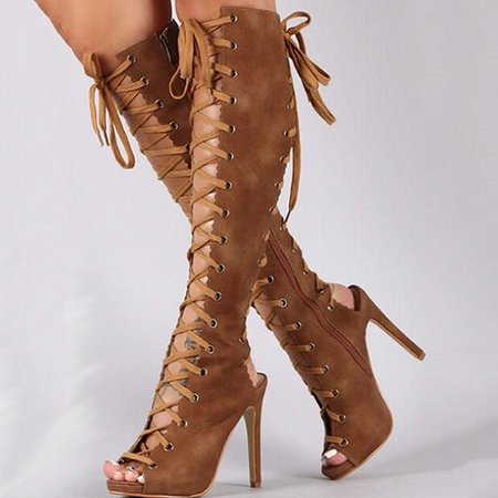 Brown Summer Suede Casual Stiletto Heel Lace-up Sandals