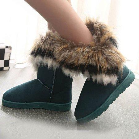 Green Flat Heel Winter Casual Fur PU Boots