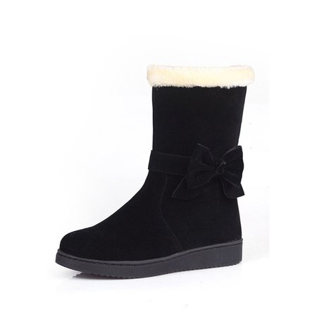 Flat Heel Suede Bowknot Boots