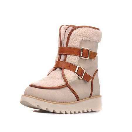 Winter Platform Suede Casual Buckle Boots