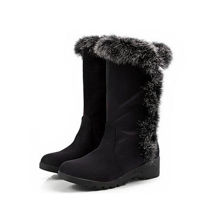 Fur Winter Suede Wedge Heel Boots