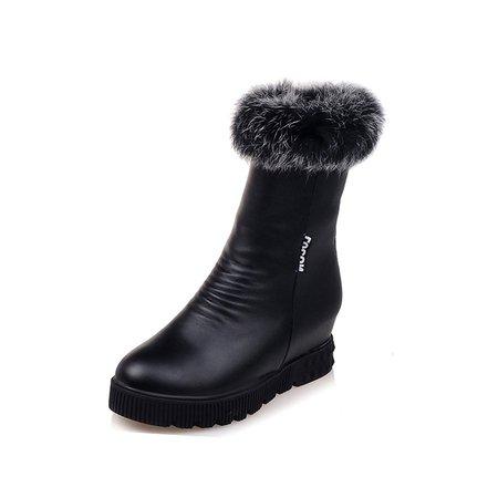 Winter Casual Zipper Platform PU Boots