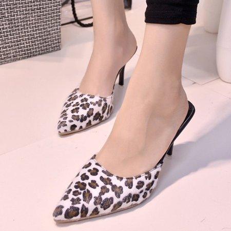 Summer PU Animal Print Casual Stiletto Heel Slipper