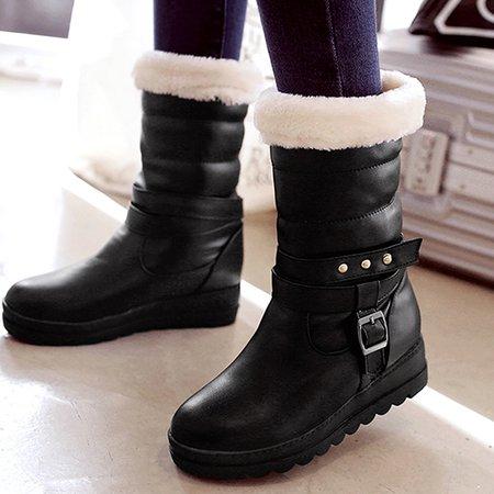 Wedge Heel Buckle PU Boots