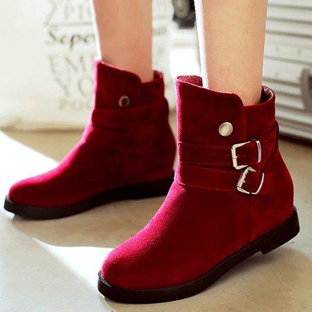 Low Heel Suede Casual Buckle Boots