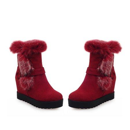 Casual Wedge Heel Winter Fur Boots